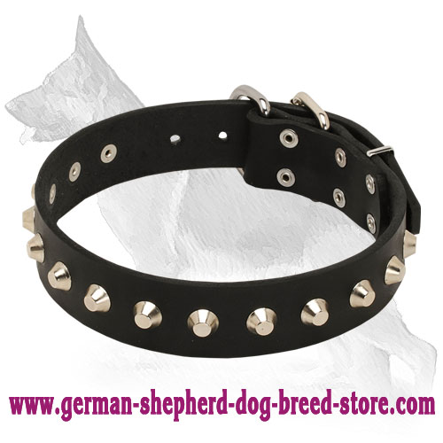 Gorgeous Daily Elegance Leather Collar with Silver-like Cones