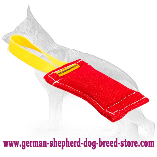 Training French Linen Bite Tug with Handle for German Shepherd Puppy