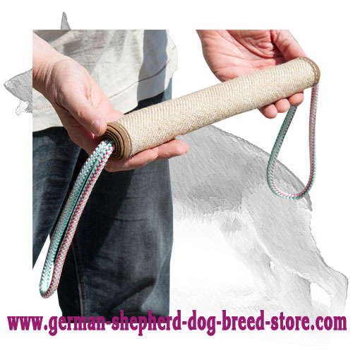 Rolled Jute German Shepherd Tug with 2 Rope Handles