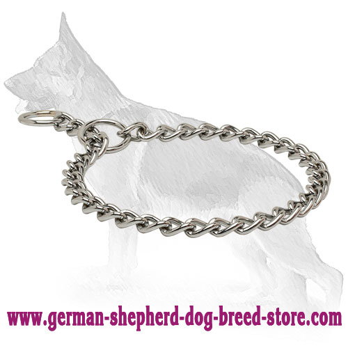Chrome Plated Choke Collar for German Shepherd Training 1/8 inch (3,5 mm)
