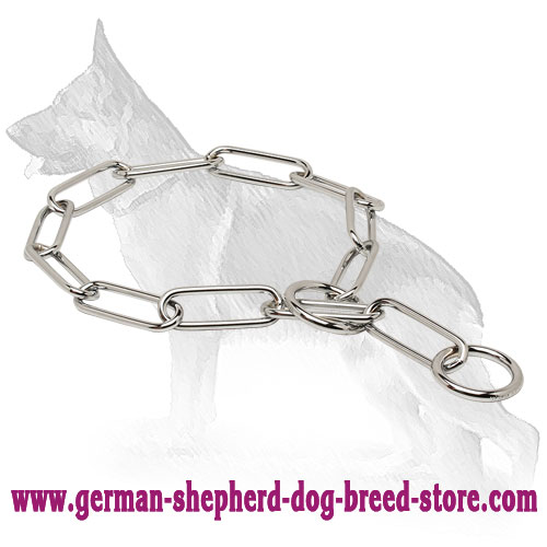 Chrome Plated Choke Collar-Dog Fur Saver with Long Links 1/6 inch (4.0 mm)