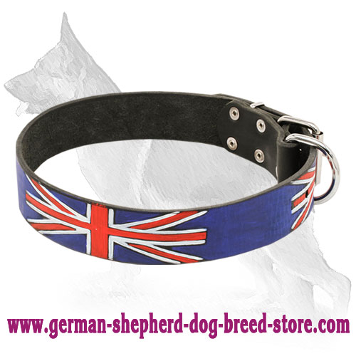 Painted Leather German Shepherd Collar with British Flag