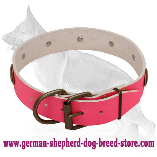 Pink Leather German Shepherd Collar with Oval Plates