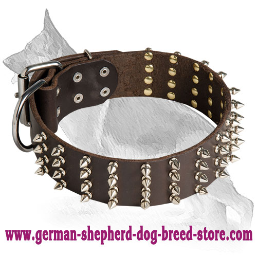 German Shepherd Leather Dog Collar Spiked 4 Rows