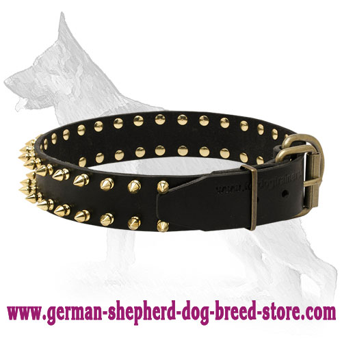 Leather German Shepherd Collar with Golden Spikes