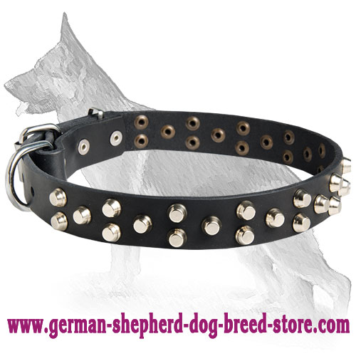 Leather German Shepherd Collar with Pyramids Three Rows