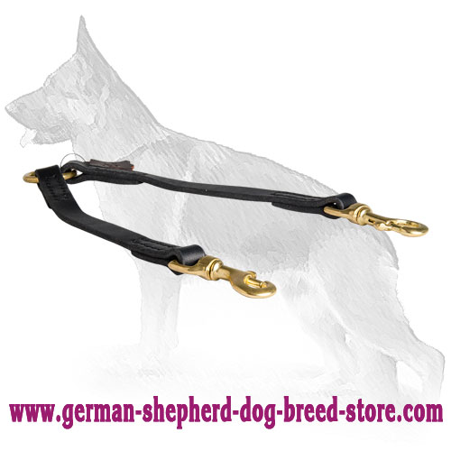 Stitched Leather German Shepherd Coupler for Walking 2 Dogs
