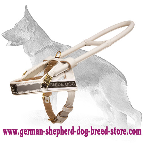 White Leather German Shepherd Harness for Guide and Assistant Dogs