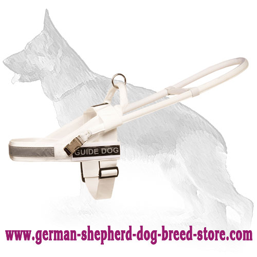 White Nylon German Shepherd Harness for Guide and Assistant Dogs