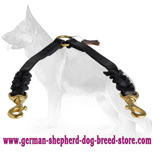 Braided Leather German Shepherd Coupler Leash for Walking 2 Dogs - Length 12 Inch