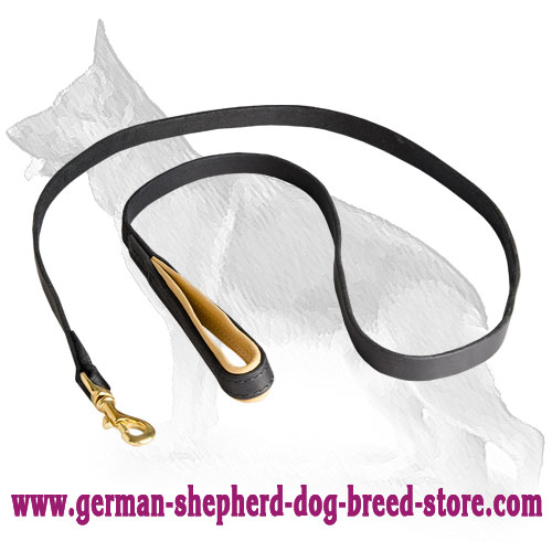 Leather German Shepherd Leash with Support Material on Handle