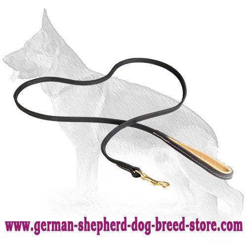 Stitched Leather German Shepherd Leash with Padded Handle