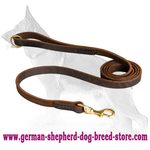 Stitched Leather German Shepherd Leash