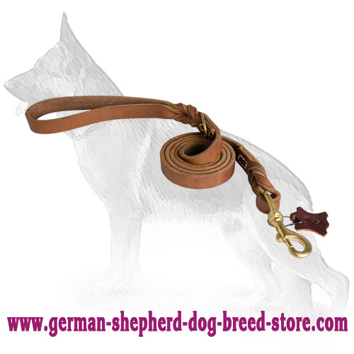Upgraded Quality Leather German Shepherd Leash with Braids