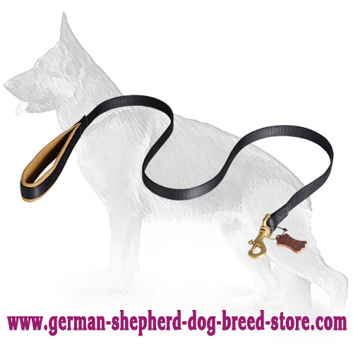 Nylon German Shepherd Leash with Leather Padded Handle - 4 to 6 Foot