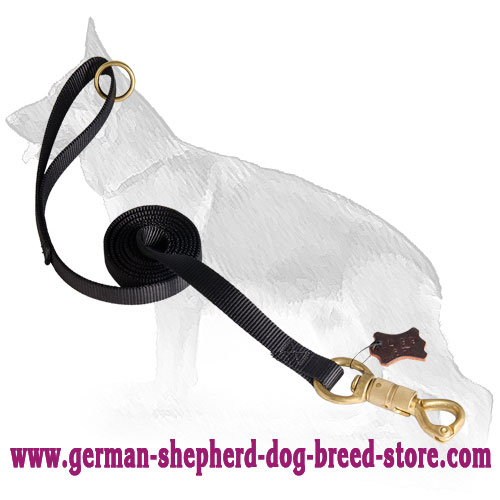 Extra Strong Nylon German Shepherd Leash with Massive Quick Release Snap Hook and Smart Lock