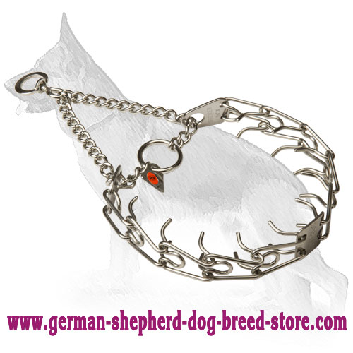 HS Stainless Steel Pinch Collar 1/8 inch (3.25 mm) for German Shepherd Training