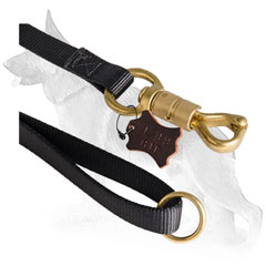 Brass Quick Release Snap Hook and Floating Ring of Nylon German Shepherd Leash