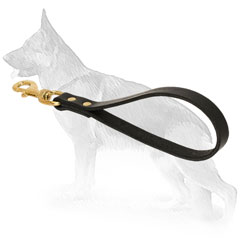 Stitched Short Leather German Shepherd Leash - Handle
