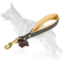Short Leather German Shepherd Leash Nappa Padded