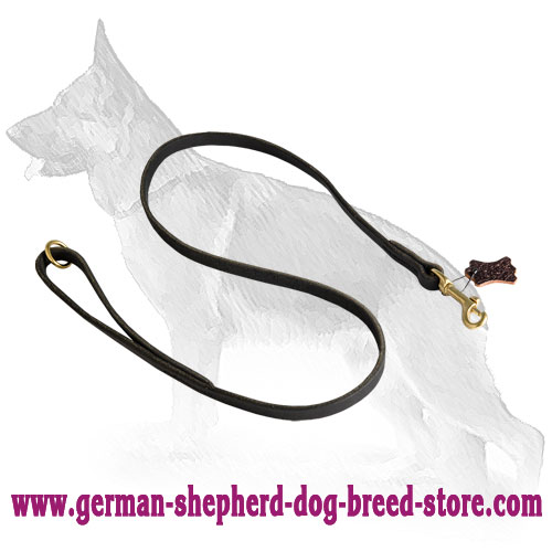 Stitched Leather German Shepherd Leash with Handle