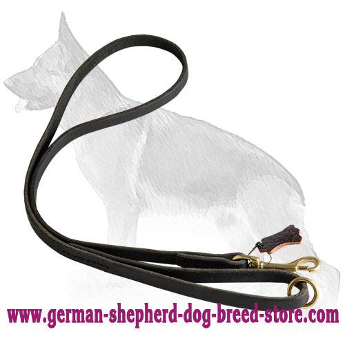 Leather German Shepherd Leash with Brass Snap Hook and Floating Ring