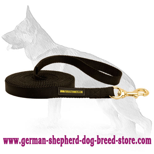 Long Nylon German Shepherd Leash with Stitched Handle
