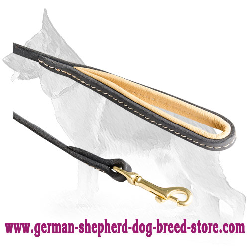 Strong Snap Hook on Leather German Shepherd Leash