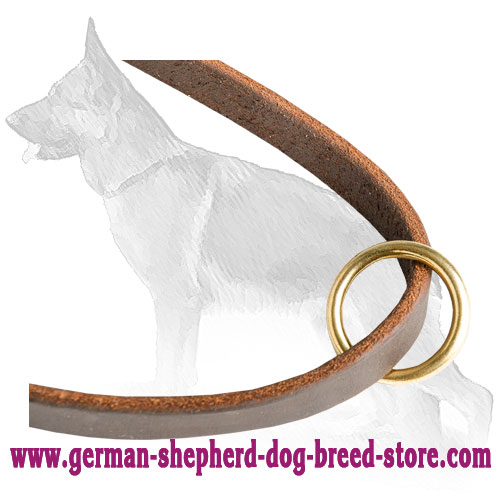 Strong O-Ring on Leather German Shepherd Leash