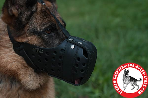 Leather Dog Muzzle with Free Air Flow