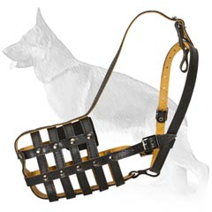 Comfortable German Shepherd Leather Muzzle With Nappa  Padding