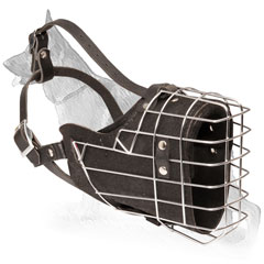 Wire Basket German Shepherd Muzzle with Leather Straps and Padding
